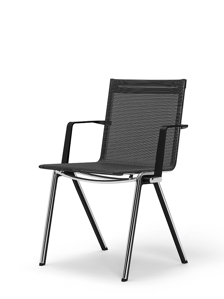 BLAQ chair with armrests | continuous seat and back | basalt black
