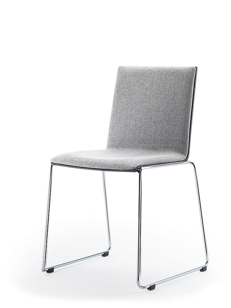 Eless skid-base chair | upholstered front