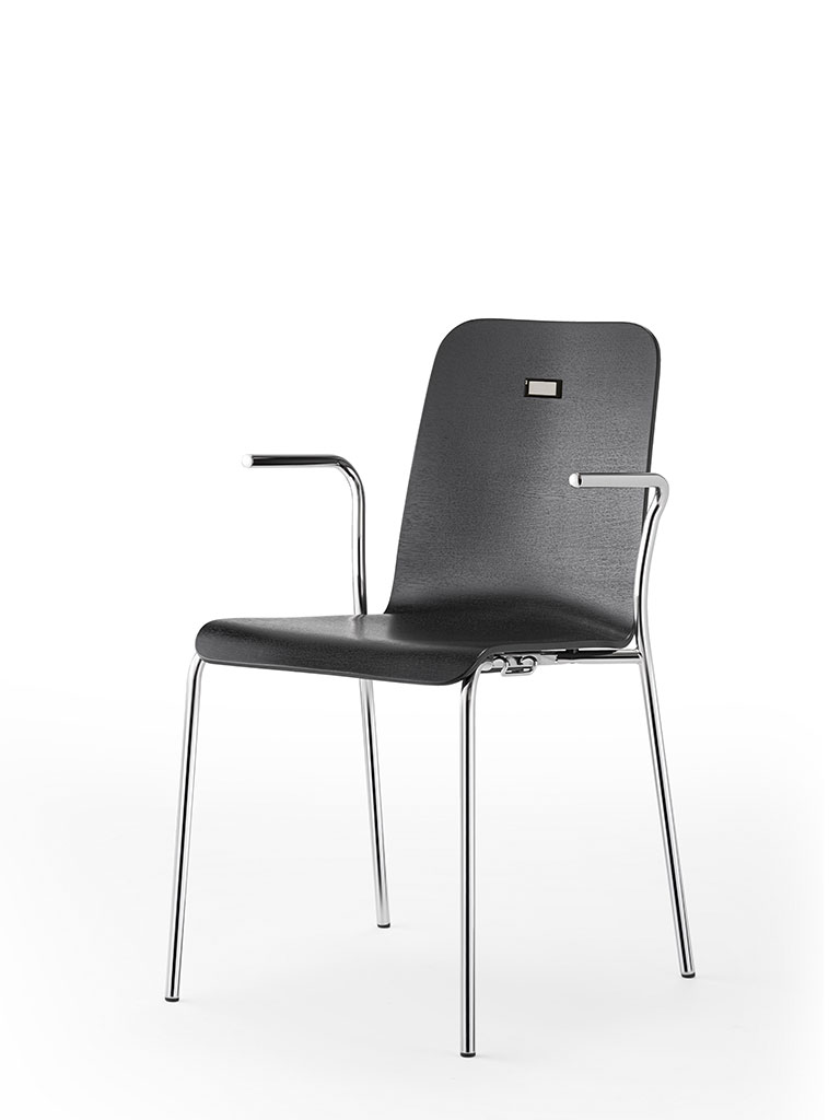 no.e | digital information and numbering system | integrated in four-legged chair aticon